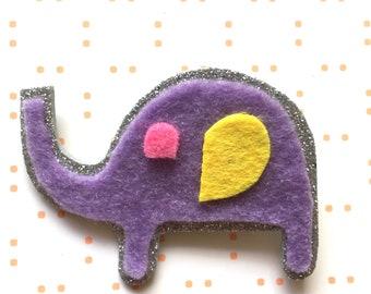 Purple elephant brooch - elephant brooch - animal brooch