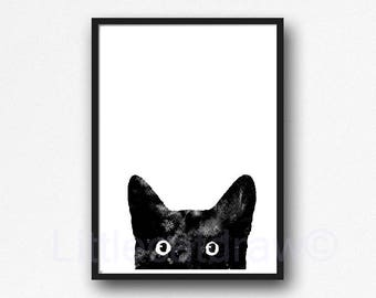 Peeking Black Cat Print Watercolor Painting Print Black and White Print Home Decor Wall Art Cat Lover Gift Art Print Wall Decor Cat Print