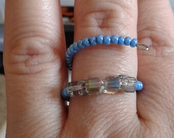 Multicolor Blue and square beaded ring