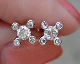 Unique 5 Diamond Stud Earrings - Prong Bezel 14K White Gold