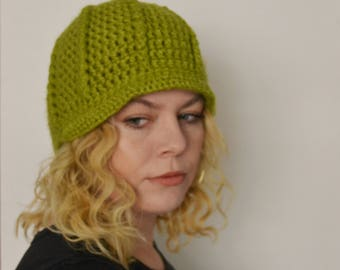 Crochet Newsboy Cap in Lime - winter hats for men - winter hats for women - hats for boys - hats for girls