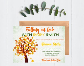 Falling in Love with Baby Invitation, Fall Baby Shower Invitation, Baby Shower Invitation, Fall Baby Shower, Autumn Baby Shower, Digital