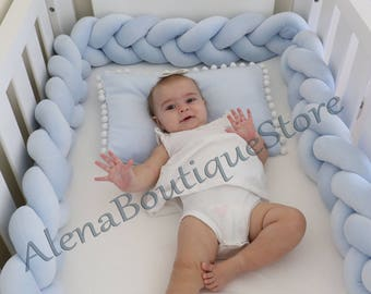 Braided Crib Bumper, Nursery bedding,Kids Room Decor, Knot Pillow,Knot Cushion,PREMIUM QUALITY Cotton blend Fabric(20 colors to shoose)