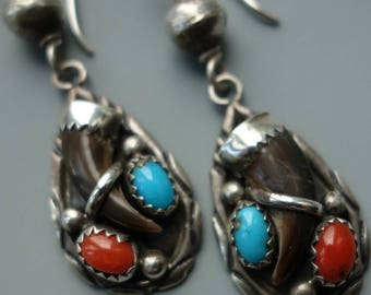 Vintage Navajo Turquoise Coral Faux Claw Earrings