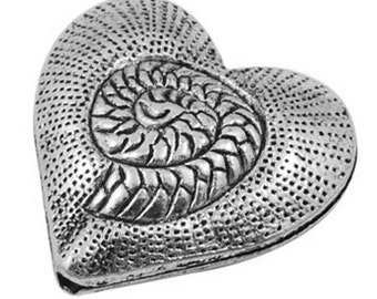One Tibetan Style Heart Bead - Nickel Free * Lead Free, Antique Silver, Size about 30mm long, 31mm wide, 11mm thick, hole 2mm   121