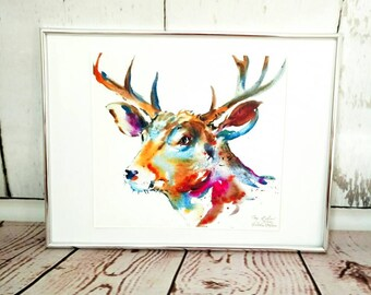 Stag deer limited edition giclee watercolour painting print, Wall Art, Home Decor,  watercolour art, gift idea, stag art, British wildlife