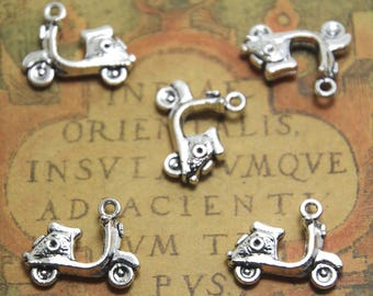 15pcs Scooter Charms Silver Tone Motorbike Vespa Moped Motorcycle pendants charms 19x15mm ASD1381