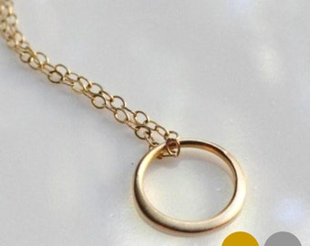 Circle Necklace- Tiny Gold Circle Necklace- Silver Circle Necklace- Gold Vermeil Circle Necklace- Gold Ring Necklace- NGS-CI1