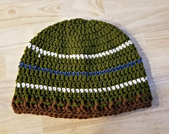 Men's beanie, striped mens hat,  READY TO SHIP green mens winter hat