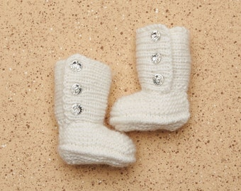 100% Cashmere Luxury Jordan booties all Hand Knitted with Swarovski button detail