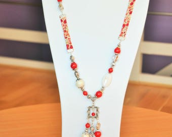 Liberty red cherry and mother of Pearl Necklace