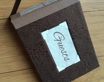 Small Guest Book - Brown Alligator Texture