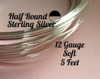 15% Off Sale! Sterling Silver Wire, HALF ROUND 12 Gauge, Soft, 5 Feet, WHOLESALE