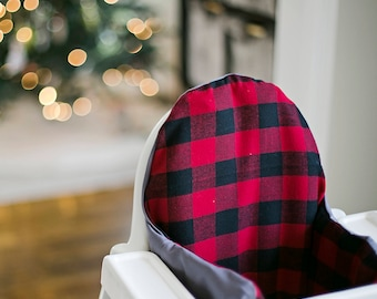 Red Buffalo Flannel // IKEA Antilop Highchair Cover // High Chair Cover for the PYTTIG Cushion // Pillow Slipcover