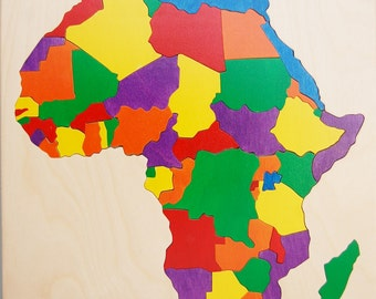 Wooden map puzzle of Africa, a wonderful, educational toy for children, a great gift for teachers, geography buffs, travelers.