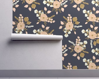Floral Wallpaper - Hand Drawn Modern Rose By Fleurpaperco - Custom Printed Removable Self Adhesive Wallpaper Roll by Spoonflower
