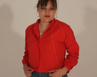 Cropped Jacket Vintage Jacket Red Jacket Light Jacket Short Jacket 80s Jacket 70s Jacket Small Jacket Medium Jacket Womens Jacket Collar