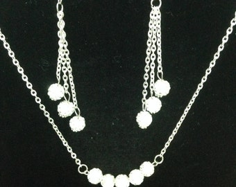Disco ball necklace set,White rhinestone crystal pave disco Ball Necklace and Earrings Set