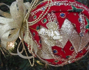 Quilted Christmas Ornament Pattern PDF Tutorial - Folded Christmas Ornament Pattern - INSTANT DOWNLOAD