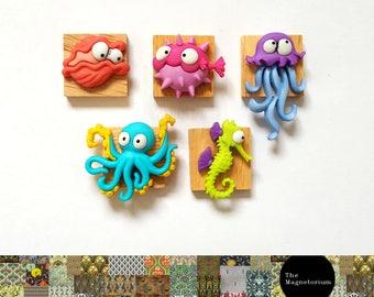 Sea Creature Magnets [Fridge Magnets, Fridge Magnet Sets, Refrigerator Magnets, Magnet Sets, Office Decor, Kitchen Decor, Magnetic Board]