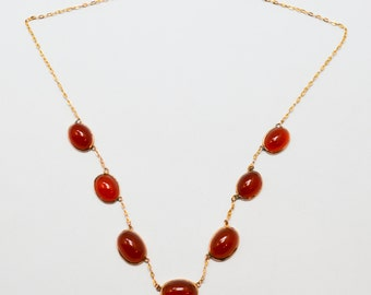 Antique Rosey Yellow Gold Carnelian Jellybean Necklace