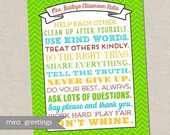 Classroom Rules Art DIGITAL File - teacher room decoration - class rules - teacher poster - Printable Digital File