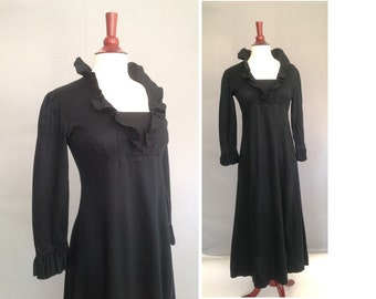Jane Austen style / early 1970s Vintage Black Maxi Dress / Halloween, Goth, Steam Punk Dress / 1800s Empire Dress / LBD for Halloween