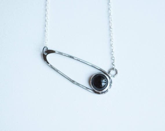 Silver and Onyx Diagonal Drop Necklace