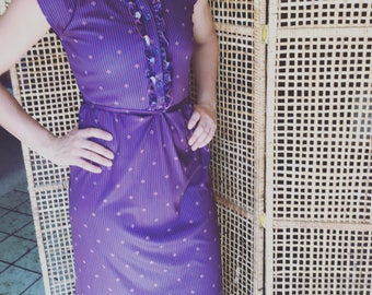 Vintage Polyester Button Up Ruffle Detail Dress Size 8