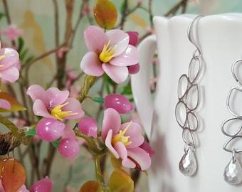 Silver Geometric Earrings - Long Dangle Earrings Mod - Silver Teardrop Earrings Contemporary Jewelry Matte Silver - Gift With Purchase E5317