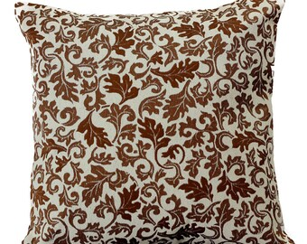 """Jacquard Floral Pillow Covers, 16"""" X 16"""", Set of 2"""