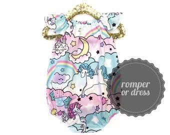 Unicorn Romper, Baby Romper, Bubble Romper, Summer Baby Clothing, Birthday Romper, Girls Sunsuit, Toddler Romper, Rainbow Baby