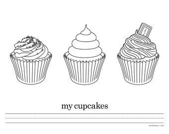 Coloring Sheet - My Cupcakes - Instant Download PDF