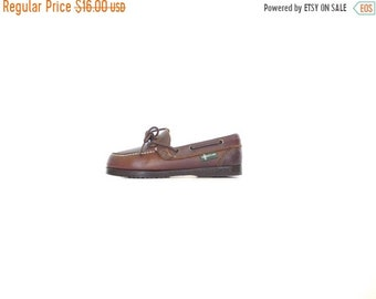 SALE. Eastland Brown Leather Loafers. 6 - 6.5. Vintage Women's 80s Boat Shoe Docksides. Made in the USA