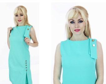 Mod Scooter Dress 60s 70s Mini Drop Waist Aqua Blue Twiggy Gold Buttons Pleat Skirt Small S Medium M