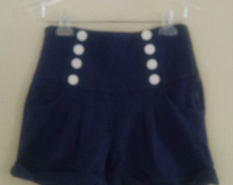 Navy Blue knit high waisted shorts with button detail.  Women's small