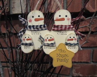 Personalized Family Ornament, Family of 5: Personalized Snowman Ornament, Family Christmas Personalized Gift, Personalized Snowmen Ornament