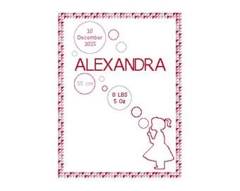 Cross Stitch baby anouncement. Pink cross stitch sampler geometric personalized baby gifts. Nursery cross stitch. pink baby room decor