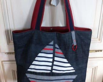 Bag denim upcycled style sailor stripes