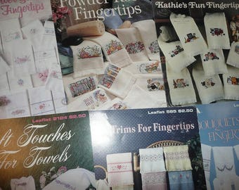 White Fingertip Cross Stitch Towels & Leisure Arts Pattern Leaflets