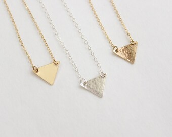 Simple Geometric Necklace, 14k Gold Fill or Sterling Silver Triangle Necklace, Hammered Necklace