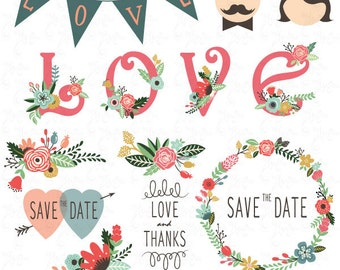Wedding Clipart Design,Wedding Floral clipart,Vintage,Valentine's,Floral Frames,Wreath,Wedding invitaion Wd007 Personal and Commercial Use.