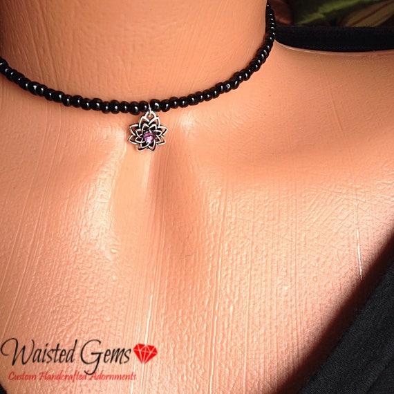 Charmed Choker, black choker, beaded choker, purple choker, feather choker, beaded necklace, summer jewelry, cute choker zmp1975-4