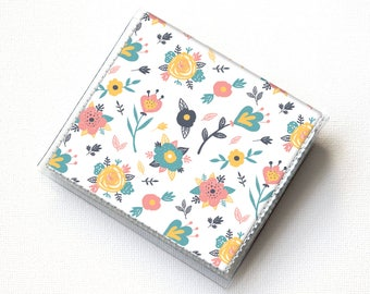Vinyl-Moo-Platz-Kartenhalter - Frühlingsblumen / Blumen Sommer Geldbörse, Vinyl, Snap, Vegan Geldbörse, Brieftasche, kleine, quadratische Karte, Geschenk,