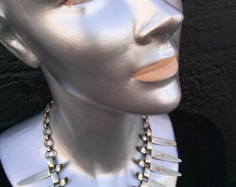 Vintage 1950s Necklace Statement Chrome Industrial Atomic 50s Choker
