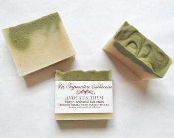 Savon Avocat & Thym, Savon artisanal fait main 100% naturel, Avocado Thyme Soap, Cold process All Natural Handmade Soap