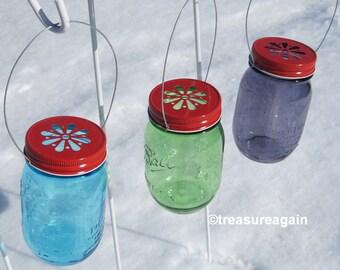 Red Mason Jar Daisy Lids with Handles Mason Jar Decor DIY Candle Holders or Hanging Flowers Lids, No Jars