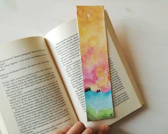 Watercolor Bookmark Abstract Landscape, handmade, Aurora borealis, watercolor landscape, modern art, small painting
