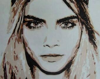 Cara Delevingne on canvas