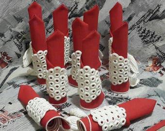 White and red crochet napkins Holder